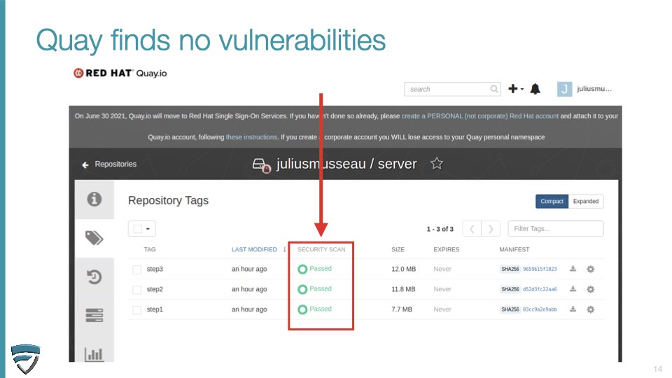 Quay container scanning did not find any vulnerabilities